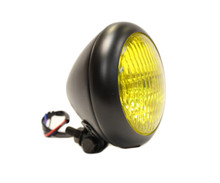 "Bezel 5"" Black Headlight - Yellow Lens"