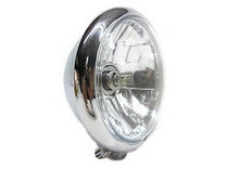 "Bates Style 5.75"" Faceted Chrome Headlight - Clear Lens"