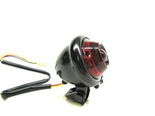 V-Twin - Round LED Black Bump Tail Light with Red Lens
