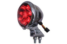 V-Twin - Round LED Chrome Tail Light - Red Lens