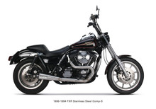 Two Brothers Racing - 2-into-1 Comp-S Exhaust -Stainless w/ Carbon Fiber Tip - fits '90-'94 FXR
