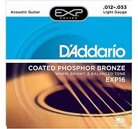 D'Addario EXP Coated Phosphor Bronze Wound Acoustic Guitar Strings