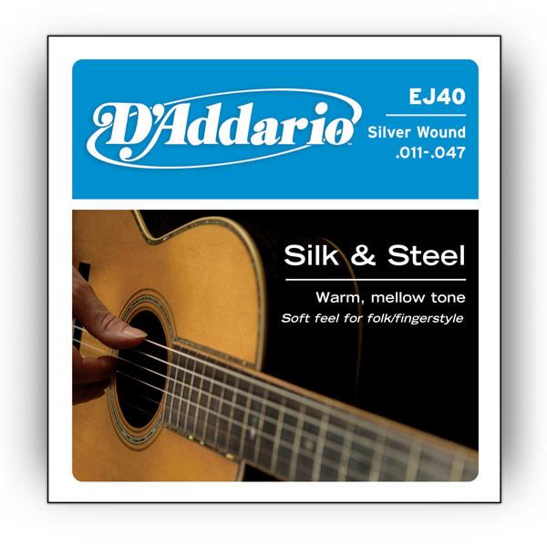 d 39 addario ej40 silk steel acoustic guitar strings. Black Bedroom Furniture Sets. Home Design Ideas
