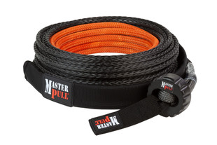 Superline UltraLite synthetic winch line with soft eye and Winch Puck. Includes removable Velcro Rock Guard.