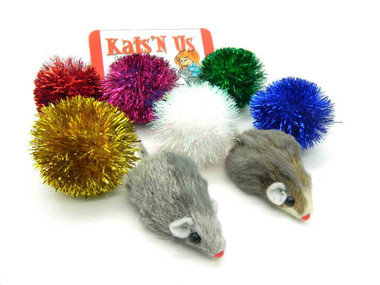 Sparkle Ball and Fur Mouse Cat Toy Pack