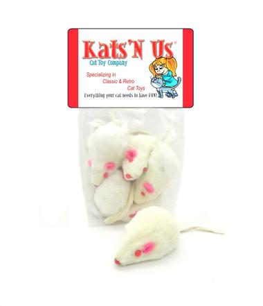 White Rabbit Fur Mice cat toys - 5pk