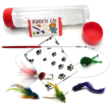 Cat toy Wand with 5 Kat lure Kat Fly Teaser Toys
