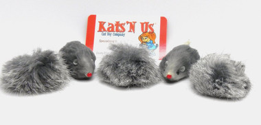 Real Rabbit Fur Pom Pom & Mouse Cat Toy - 5 Pak