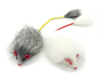 Rabbit Fur long hair Mouse Cat Toy Elastic Tail - 2 Pack