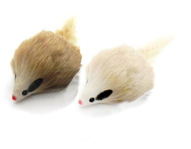 Real Rabbit fur Long Hair Mouse cat Toy - Carmel Color