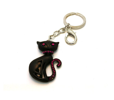 Black Cat Keychain - Pink collar