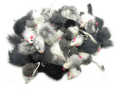 Real Rabbit Fur Mice and Pom Poms - 100 Pack