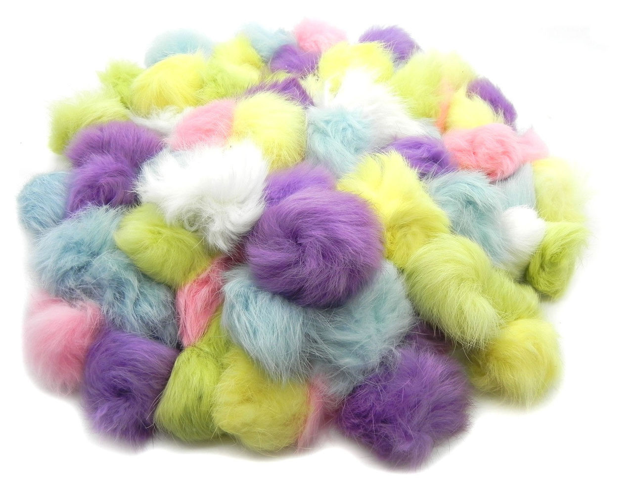 Craft rabbit fur pom pom balls 50 pack pastel colors for Furry craft