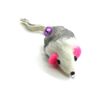 Rabbit Fur Gray and White Mouse teaser wand refill