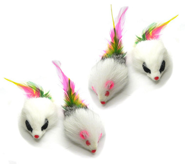 Real Rabbit fur Long Hair Feather Tail Mouse cat Toy 4 pak