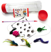 Kat Fly Teaser Frog Cat Toy Wand Kit