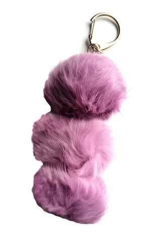Rabbit Fur Pom Pom Keychain purple
