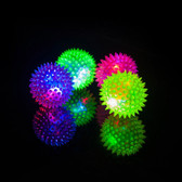 Rubber LED Light-up Spike Ball Pet Dog Cat Toy - 3pk With Squeak
