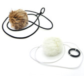 Jumbo Rabbit Fur Pom Pom Ball String Cat Toy