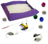 Kitten Starter Kit Cat Toy Cat Bed Combo - Purple