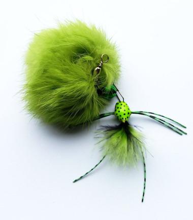 Rabbit Fur Pom Pom Bug Fly Cat teaser wand refill  - Green
