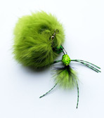 Rabbit Fur Pom Pom Bug Fly Cat teaser wand refill  - Green