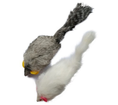 Real Rabbit Fur Mouse Cat Toy with Squeak Sound