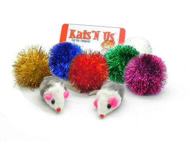 Tuff Kitty Puff® Sparkle Kitty Puff and Rattle mouse Cat Toy Pak