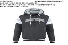Men's Fashion Padded Jacket- CHARCOAL HE901