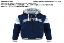 Men's Fashion Padded Jacket- Navy HE901