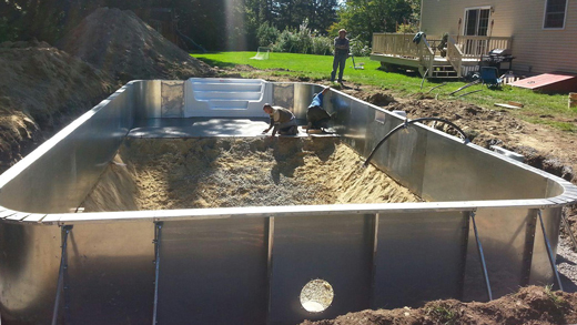 Above ground and inground pool sales prices reviews information Fiberglass swimming pool installation