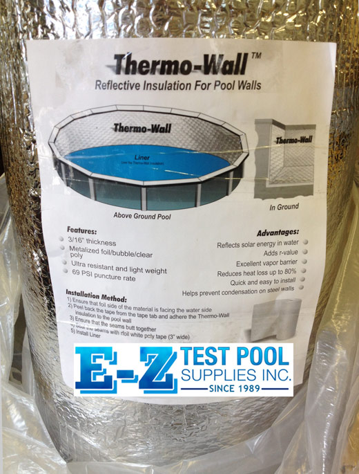 Thermo-Wall insulated pool wall padding installs between pool wall and liner on Above ground pools and in-ground swimming pools.