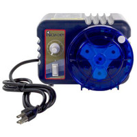 Rola-Chem's Pro Series peristaltic chemical feed pumps 12 GPD at 30 PSI, 1/4 Inch Plastic Injection Adapter, 1/2 Inch Brass Injection Fitting, 120 Volts 60 Hz, Max Amps 2.5.
