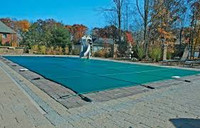 Meyco PermaGuard Solid W/Mesh Panel 14' X 28' (Rect.) Green Safety Pool Cover (MEYS1428)