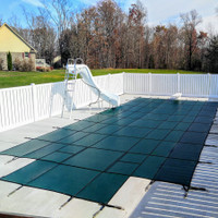 Meyco PermaGuard Solid W/Mesh Panel 16' X 32' 4x8 Ctr. (Rect.) Green Safety Pool Cover (MEYS110)S2044)