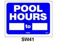 National Stock Sign Pool Hours Sign (Sw-41)