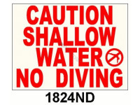 Poolstyle Shallow Water No Diving Sign (1824Nd)