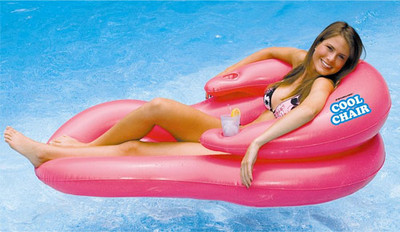 Built-In Drink Cups, Arm Rests & Pillow Head Rest! Perforations in Deck to allow Cool Water to Enter in. Quality Inflatable Lounger Available in Pink, Blue, & Green!