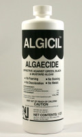Algicil Algaecide is effective against green, black and mustard algae. No Fomaing. No Staining. No Discoloration. No Metals. Used to treat algae growth and also a preventative to stop algae before it starts.