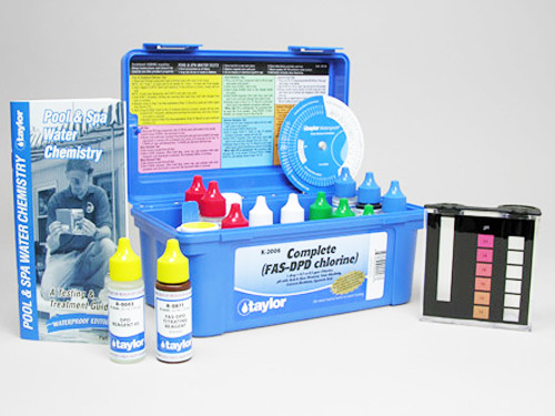 Taylor K-2006 Service Complete (high) Reagent Test Kit provides everything you need to test the following attributes of your swimming pool or spa water: Total Alkalinity, Free & Combined Chlorine, Cyanuric Acid, Calcium Hardness, pH with acid/base demand. The reagents in this kit are 22ml (0.75 ounce) in size.
