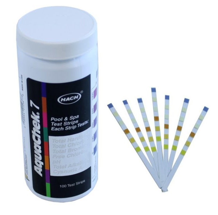 AquaChek® Silver 7-Way Test Strips test for Total Hardness, Total Chlorine, Total Bromine, Free Chlorine, pH, Total Alkalinity and Cyanuric Acid (Stabilizer)