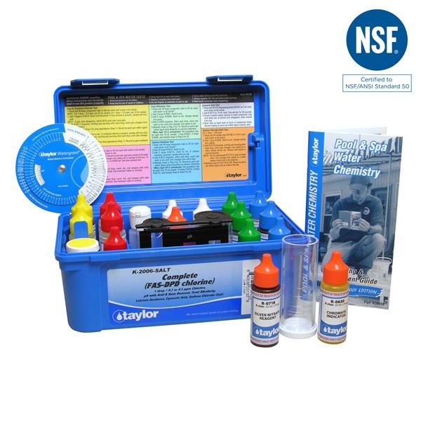 Taylor Complete kit for Chlorine, pH, Alkalinity, Hardness, CYA, Salt (K-2006-SALT)