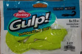 Perfect for targeting big fish, Berkley Gulp! Saltwater Grubs are a favorite for all saltwater species. It has a proven tail action design that swims under all conditions and gives you the versatility to fish it as a jig or as a trailer. Even at depths up to 300 ft., Berkley® Gulp!® Saltwater Grub Soft Baits provide great visibility and action to mimic the patterns and scent of a real meal.  FEATURES:  Tough and durable Perfect for depths of up to 300 ft. Wide swimming tail for optimal action and visibility Gulp! provides great scent and taste Pack Qty: 4 Brand: Berkley Country of Origin: United States of America
