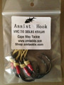 Hand served VMC 7/0 Assist hooks on USA made Kevlar Cord, 4 pcs per package.