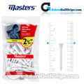 Masters Golf White Wooden Tees - 2 3/4 Inch (70mm) - White (20 Pack)