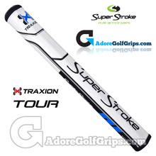 SuperStroke TRAXION Tour 2.0 Tech-Port Putter Grip - White / Blue / Black