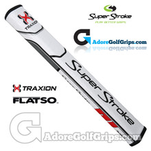 SuperStroke TRAXION Flatso 3.0 Tech-Port Putter Grip - White / Red / Grey
