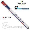 SuperStroke TRAXION Flatso 3.0 17 Inch Putter Grip - White / Red / Blue