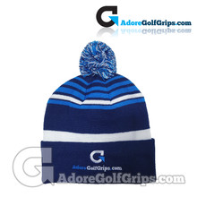 AdoreGolfGrips.com Striped Knit Beanie Bobble Hat - Blue