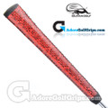 Iguana Golf Snake Skin Leather Pistol Putter Grip (Side Detail) - Red / Black
